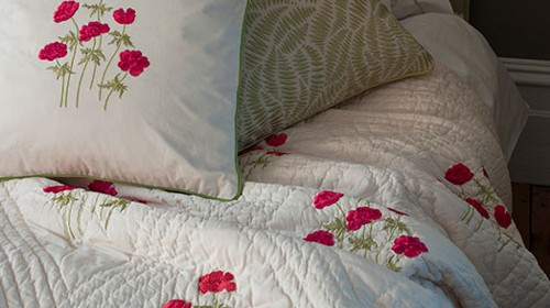 Anenome Red/Pink Embroidered Quilt