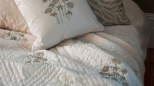 Anenome Stone Embroidered Quilt