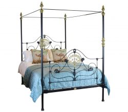 Antique cast iron four poster beds for Small four poster bed