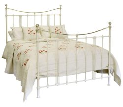 Cream 5ft Brass and Iron Bed