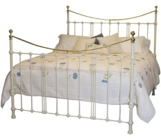 6ft Cream Bed with Art Nouveau Castings