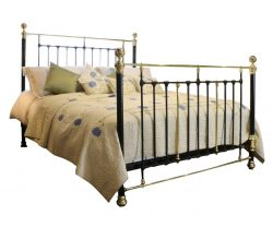 Wide Cast Iron and Brass Bed in Black, MSK41