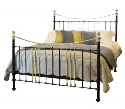Wide Cast Iron and Brass Bed in Black, MSK42