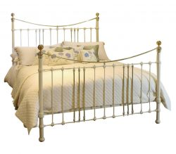 Wide Cast Iron and Brass Bed in Cream, MSK43