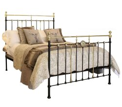 Decorative Brass and Iron Antique Bed in Black