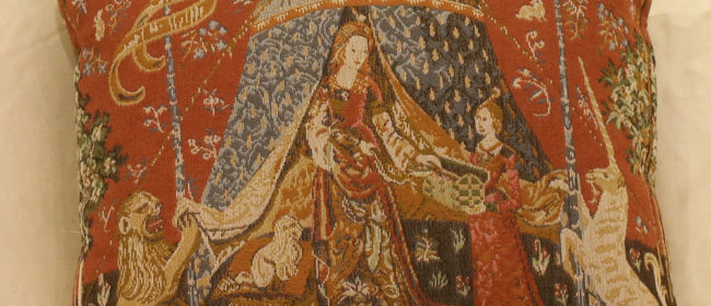 Tapestry Cushion – Lady with the Tent