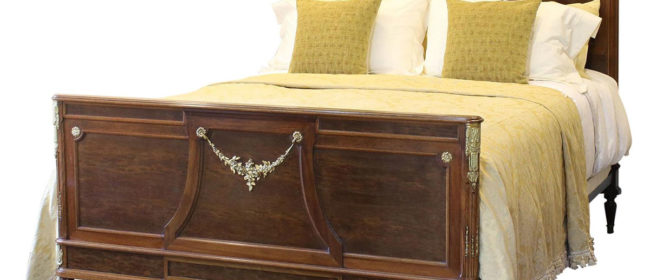 Wide Art Deco Mahogany Bed – WK110