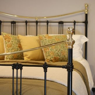 5ft-Black-Art-Nouveau-Brass-and-Iron-Bed-MK220