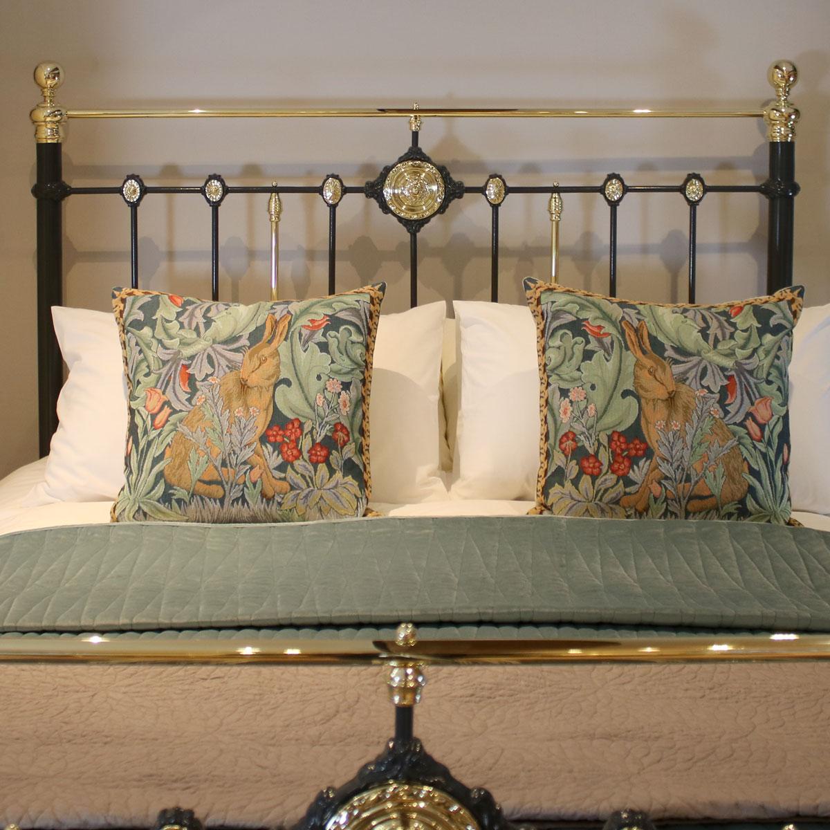5ft-Dark-Grey-Brass-and-Iron-Straight-Bar-Antique-Bed-MK217