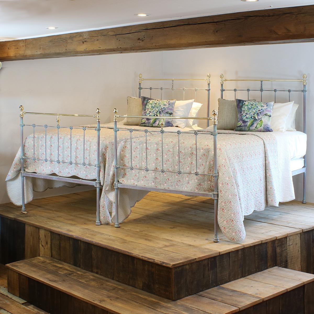 Pair of Antique Beds in Blue Verdigris