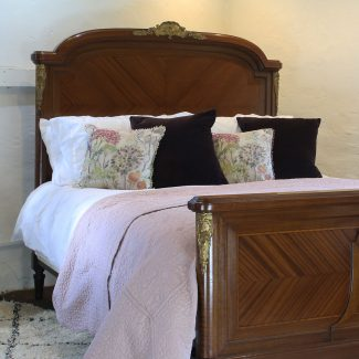 5ft-Mahogany-with-Fruitwood-Inlay-Antique-Bed-MK135