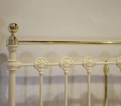 5ft-Victorian-Brass-and-Cast-Iron-Straight-Top-Antique-Bed-in-Cream-WK214