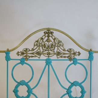 Pair-of-Moroccan-Curly-Iron-Blue-Brass-and-Iron-Antique-Beds-MPS40