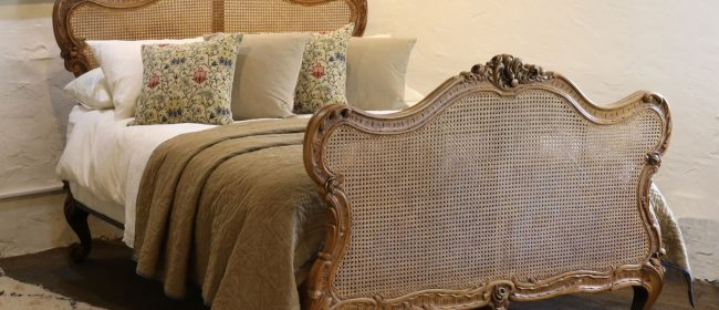 Louis XV Walnut Antique Bed with Rattan Panels WK149