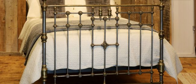 Late Victorian Cast Iron, Steel and Brass Antique Bed, MD103
