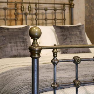 Burnished-Late-Victorian-Brass,-Steel-and-Iron-Antique-Bed-MD103-1