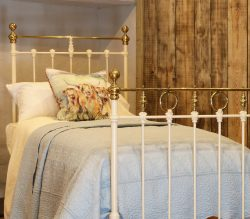 Cream-Straight-Top-Rail-Single-Antique-Bed-WIth-Brass-Hoops-And-Twists-MS51