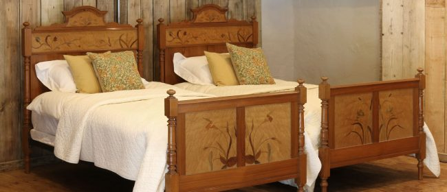 Art Nouveau Matching Pair of Twin Single French Beds – WPS35