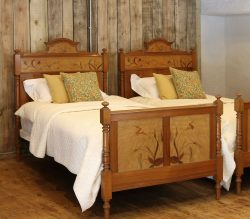 Matching-Pair-of-PItch-Pine-Single-Antique-Beds-WP35-