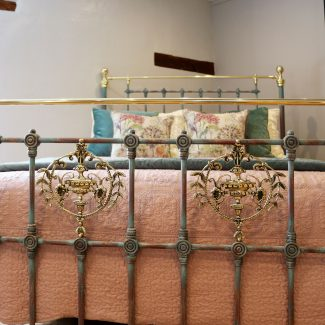 Blue-Verdigris-King-Size-Antique-Bed-With-Brass-Plaques-MK234