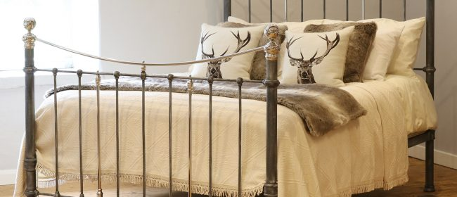 Charcoal Victorian Bed with Nickel Plating MK241