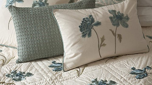 Peony Embroidered Blue Quilt