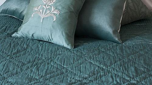 Tussar Azure Silk & Rayon Quilt