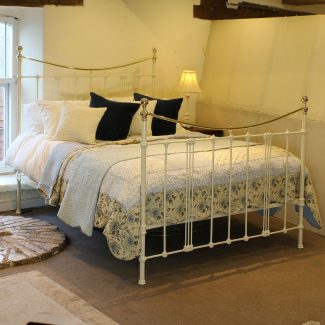 King size cream antique bed