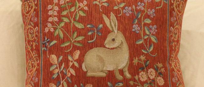 Tapestry Cushion – Medieval Rabbit