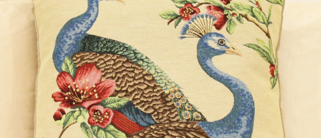 Tapestry Cushion – Peacocks and Flowers