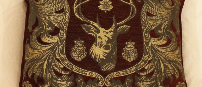 Tapestry Cushion – Regal Stag Red