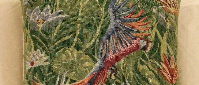 Tapestry Cushion – Rousseau Tropical Parrot