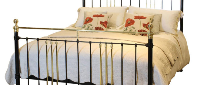 6ft Wide Brass and Iron Bed in Black – MSK50