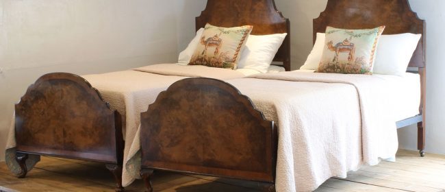 Matching Pair of Single Walnut Antique Beds WP34