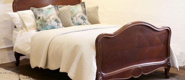 Louis XV Dark Walnut Antique Bed WK153