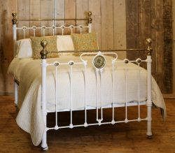 Late-Victorian-White-Antique-Double-Bed-With-Pretty-Panel-And-Arched-Iron-MD104-1
