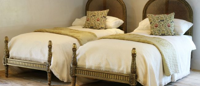 Gilded Louis XVI Matching Pair of Twin Single Caned Rattan Beds – WPS37