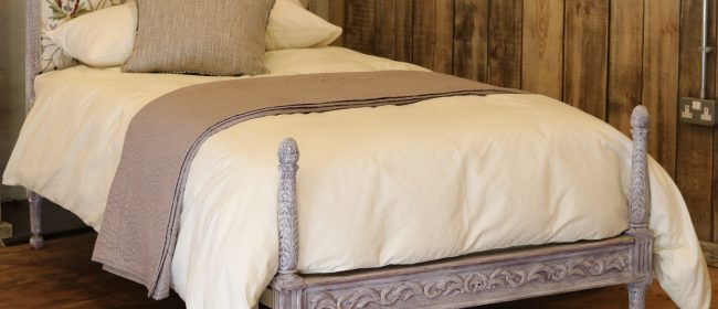 Upholstered Antique Bed With Painted Frame WS14